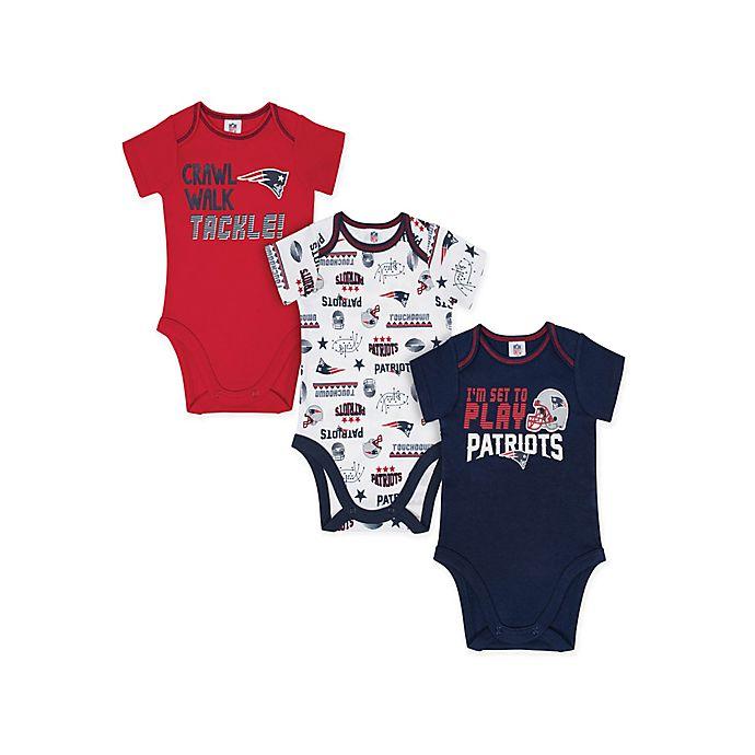 Alternate image 1 for NFL® New England Patriots Size 18M 3-Pack Short Sleeve Bodysuits
