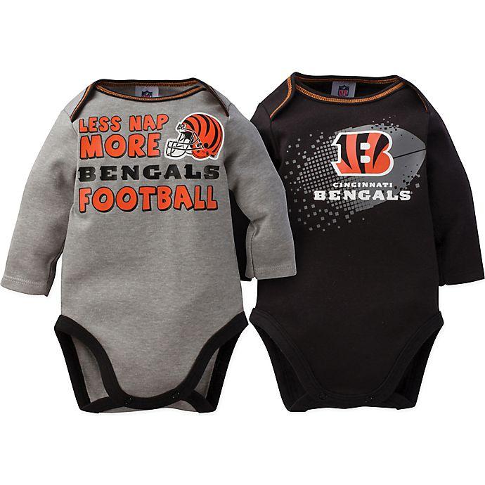 Alternate image 1 for NFL® Cincinnati Bengals Size 18M 2-Pack Long Sleeve Bodysuits