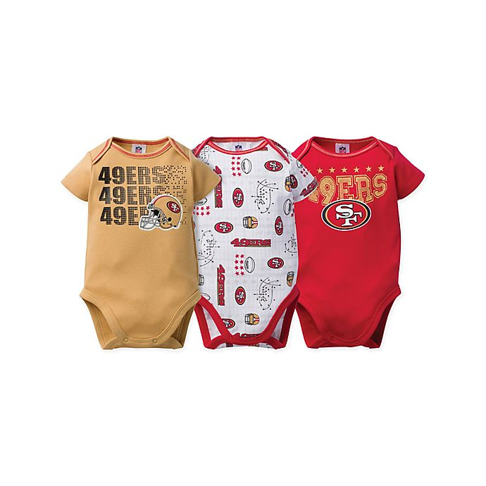 Alternate image 1 for NFL® San Francisco 49ers Size 0-3M 3-Pack Short Sleeve Bodysuits