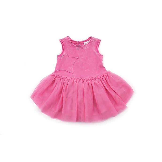 Alternate image 1 for Kidding Around Newborn Star Snow Wash Dress in Pink
