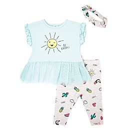 Mini Heroes™ 3-Piece Sunny Tunic, Legging and Headband Set in Mint