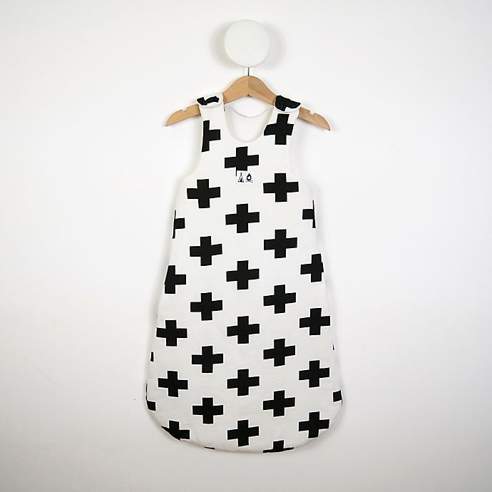 Alternate image 1 for White Cross Print Sleeping Bag in Black/White