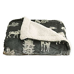Great Bay Home Forrest Animals Reversible Throw Blanket in Dark Grey/White