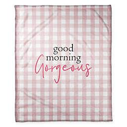 "Designs Direct ""Good Morning, Gorgeous"" Fleece Throw Blanket in Pink"