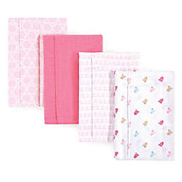 Luvable Friends® 4-Pack Birdies Burp Cloth Set in Pink