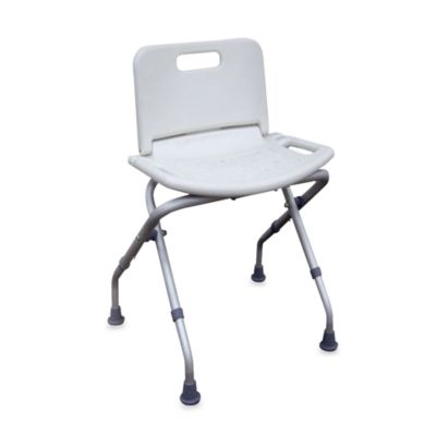 Drive Medical Folding Bath Bench With Back In White Bed