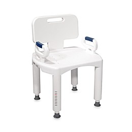Drive Medical Premium Bath Seat with Back and Arms in White