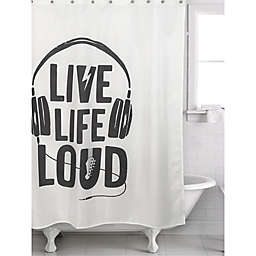 """""""Live Life Loud"""" Shower Curtain in Black/White"""