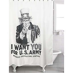 """Uncle Sam"" Shower Curtain in White/Grey"