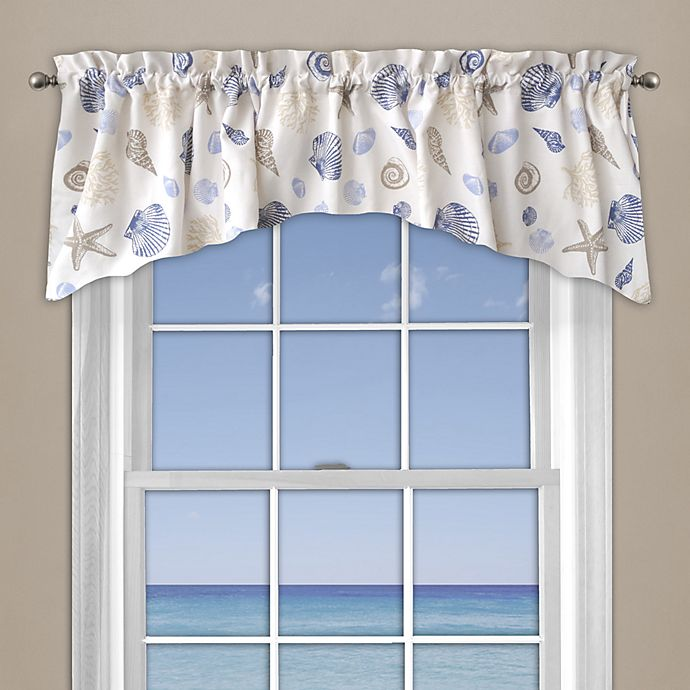 Alternate image 1 for Seashore Coral Window Curtain Valance in Blue