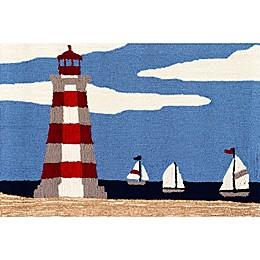 "Liorra Manne Lighthouse Sky 20"" x 30"" Indoor/Outdoor Accent Rug in Blue"