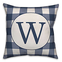 Designs Direct Checkered Monogram Square Indoor/Outdoor Throw Pillow in Blue