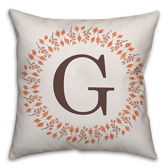 Alternate image 1 for Designs Direct Fall Leaf Monogram Square Indoor/Outdoor Throw Pillow in Brown