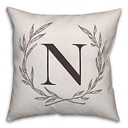 Designs Direct Laurel Wreath Monogram Square Indoor/Outdoor Throw Pillow in Brown