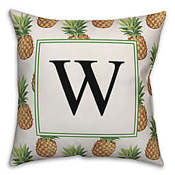 Designs Direct Pineapple Monogram Square Indoor/Outdoor Throw Pillow in Green