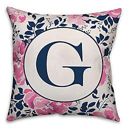 Designs Direct Florals Monogram Square Indoor/Outdoor Throw Pillow in Blue