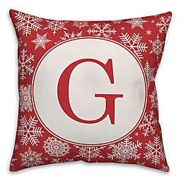 Designs Direct Snowflake Monogram Square Indoor/Outdoor Throw Pillow in Red