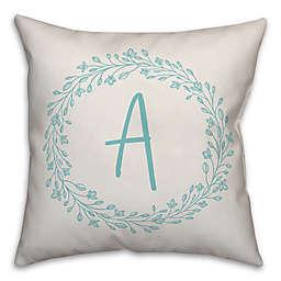Designs Direct Wreath Monogram Square Indoor/Outdoor Throw Pillow in Blue
