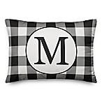Designs Direct Checkered Monogram Oblong Indoor/Outdoor Throw Pillow in Black