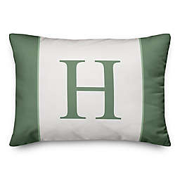Designs Direct Stripes Monogram Oblong Indoor/Outdoor Throw Pillow in Green