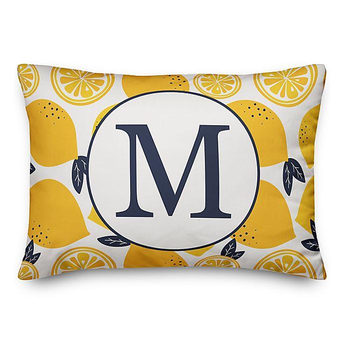 Alternate image 1 for Designs Direct Lemon Monogram Oblong Indoor/Outdoor Throw Pillow in Blue