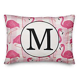 Designs Direct Flamingo Monogram Oblong Indoor/Outdoor Throw Pillow in Pink