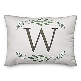Designs Direct Laurels Monogram Oblong Indoor/Outdoor Throw Pillow in Blue