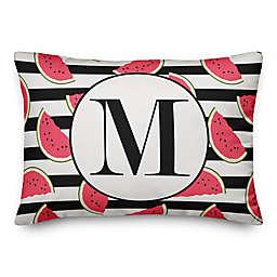 Designs Direct Watermelon Monogram Oblong Indoor/Outdoor Throw Pillow in Pink