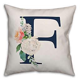 "Design Direct Floral Monogram ""F"" Square Indoor/Outdoor Pillow in Blue"