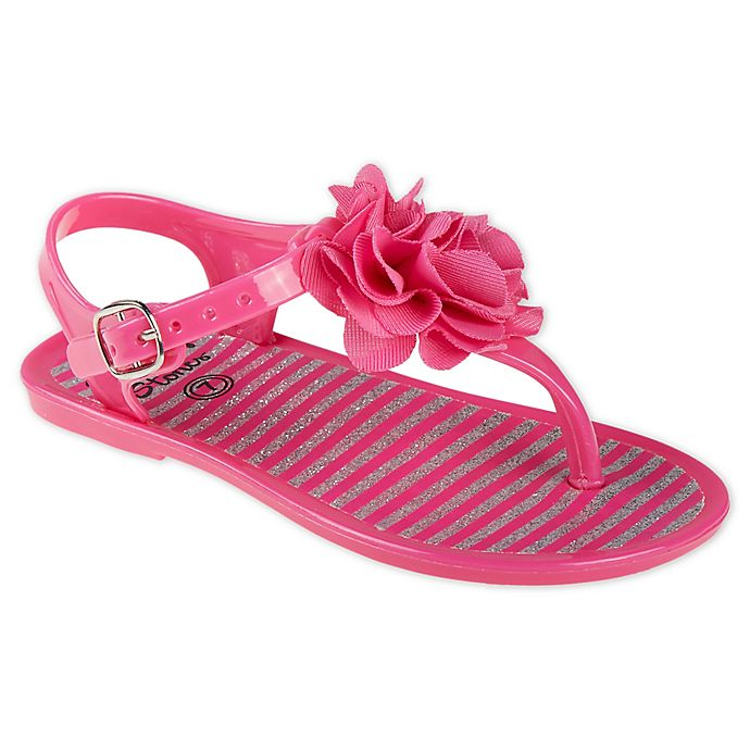 144c7d027009 Stepping Stones Size 4 Flower and Butterfly Glitter Jelly Sandal in Fuchsia