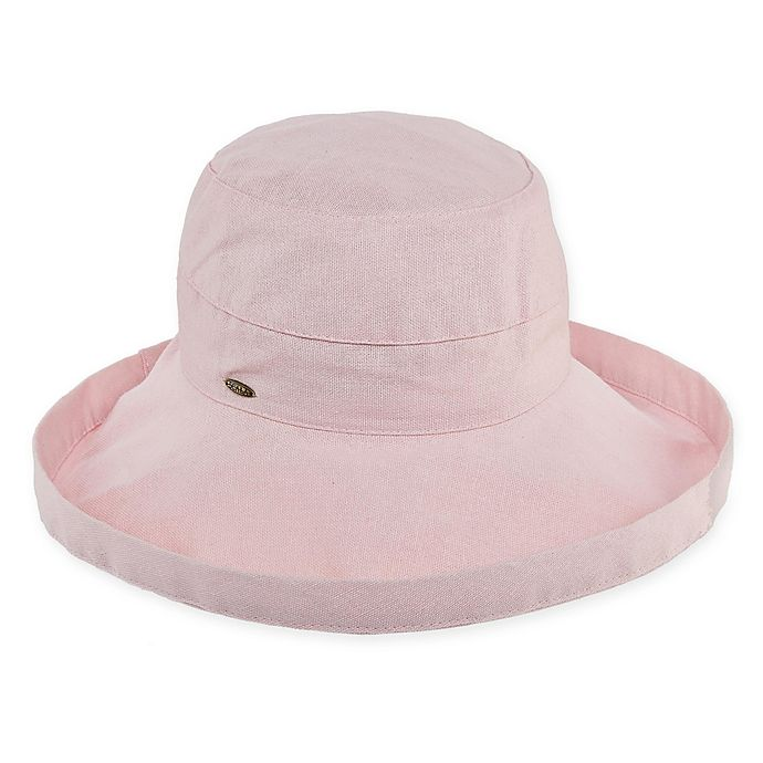 Alternate image 1 for Scala™ Women's Big Brim Cotton Sun Hat in Pink