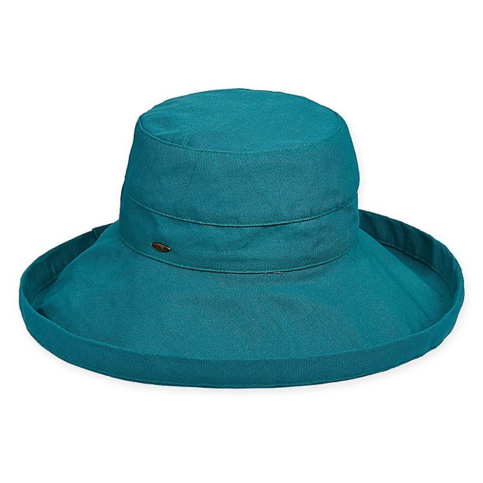 Alternate image 1 for Scala™ Women's Big Brim Cotton Sun Hat in Teal