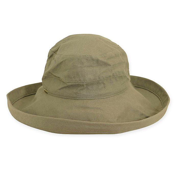 Alternate image 1 for Scala™ Women's Big Brim Cotton Sun Hat in Olive