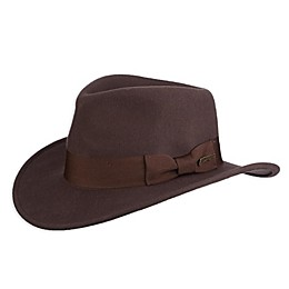 Scala Indiana Jones Crushable Wool Felt Hat in Brown