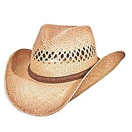 Scala™ Pinch Front Raffia Hat in Burnt Beige