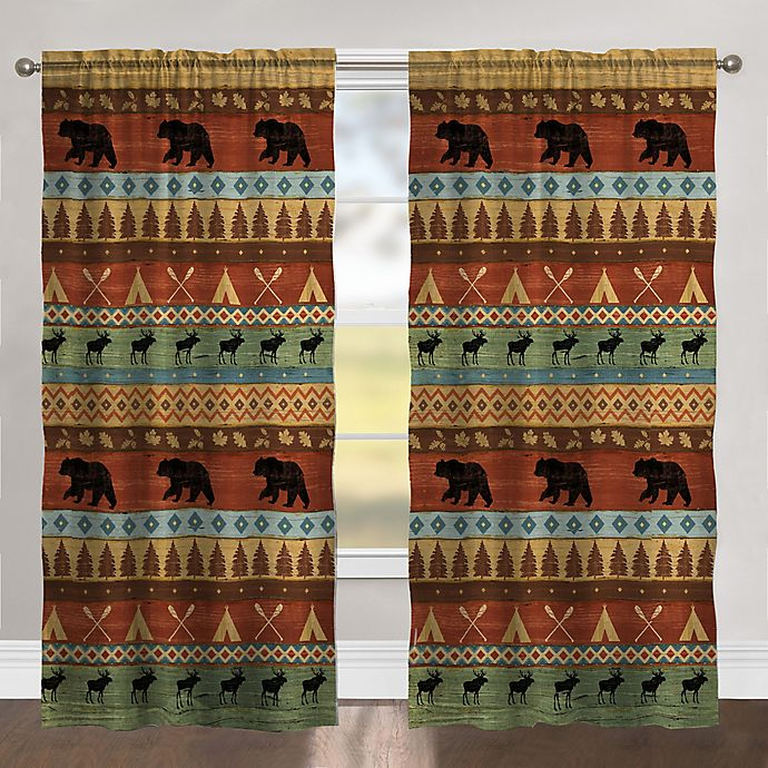 Alternate image 1 for Bear Lodge 84-Inch Rod Pocket Room Darkening Window Curtain Panel in Orange