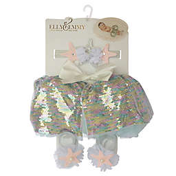 Elly & Emmy Size 0-6M 3-Piece Mermaid Fancy Tutu Set in Pink/Blue