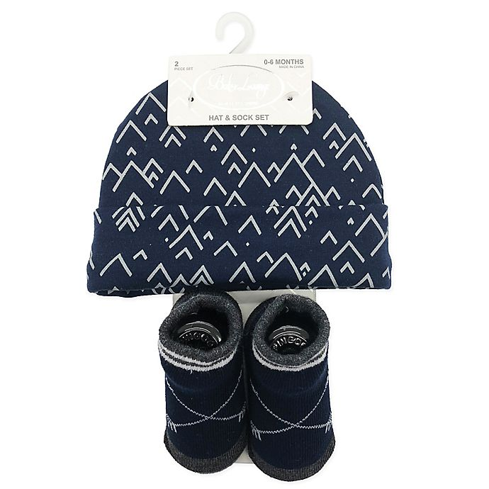 Alternate image 1 for Baby Lounge 2-Piece Beanie and Socks Set in Navy