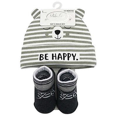 Baby Lounge 2-Piece Happy Bear Beanie and Socks Set in Grey
