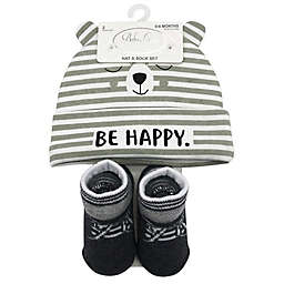 Baby Lounge 2-Piece Happy Bear Beanie and Socks Set in Grey