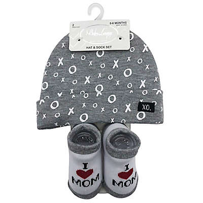 """Baby Lounge """"Love"""" Beanie and Sock Set in Grey"""