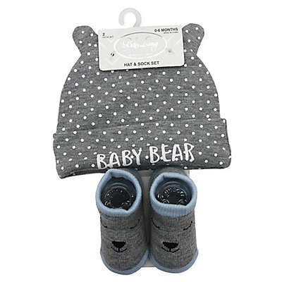 Baby Lounge Baby Bear Beanie and Sock Set in Grey