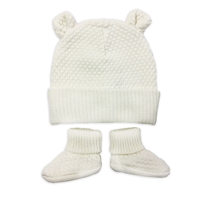 b5831481003 NYGB™ 2-Piece Quilted Bear Ear Hat and Bootie Set in Ivory