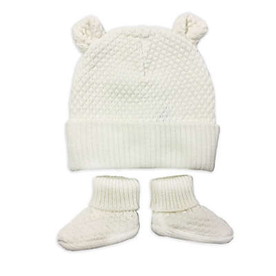 NYGB™ 2-Piece Quilted Bear Ear Hat and Bootie Set in Ivory
