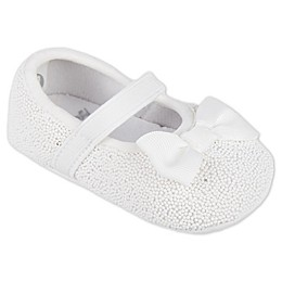 Stepping Stones Glitter Dot Textured Mary Jane Shoes in White