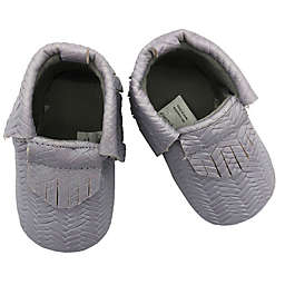 Baby Lounge Moccasin Crib Shoe in Grey