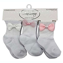 Baby Lounge 6-Piece Multi-Texture Knit Socks in Pink/Grey