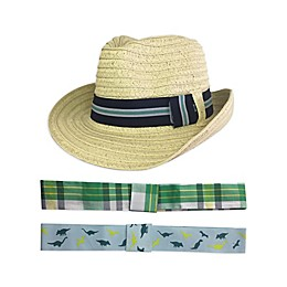 Toby Fairy™ 4-Piece Woven Fedora and Hat Band Set in Natural