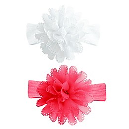 Tiny Treasures 2-Pack Laser-Cut Flower Headbands in Pink/White