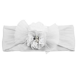 Tiny Treasures Flower Bow Headband in White